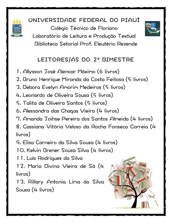 Cartaz - Leitores do 2º Bimestre