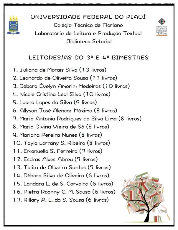 Cartaz - Leitores do 3º e 4º Bimestres